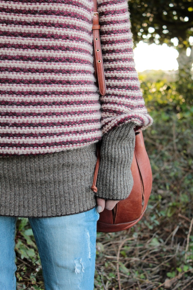 Jeans+chunky wool sweater+shoulder bag