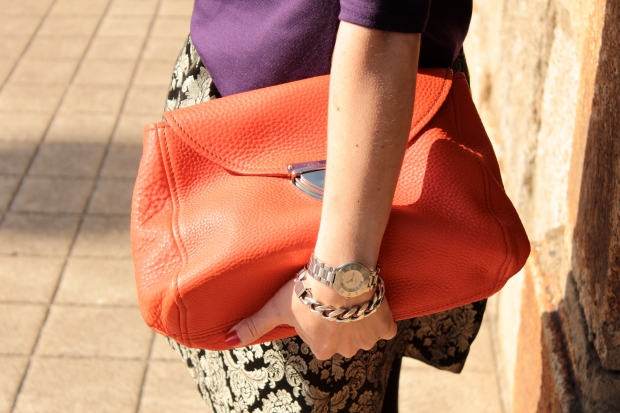 Bright orange clutch